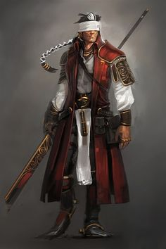 Red White Naginata Samurai Seems like a form of Daredevil to me Dark Fantasy, Fantasy Male, Fantasy Warrior, Fantasy Rpg, Fantasy Artwork, Fantasy Samurai, Character Creation, Character Concept, Character Art