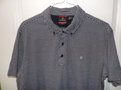 Victorinox Swiss Army Designer Blue Striped Pique Polo Shirt XL Mint Fast Ship #Victorinox #PoloRugby