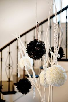 black & white sphere centerpiece -- new years eve party. A NYE party always needs a black & white theme