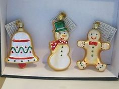 3 different Christmas sugar cookies set 1 Old World Christmas glass ornament | eBay