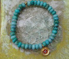 Turquoise Jade Evil Eye Bracelet  www.etsy.com/shop/ten10jewelry