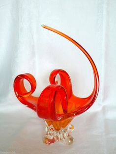 Vintage CHALET Murano Canada Art Glass Sommerso Fiery Red Orange CENTERPIECE