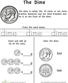 Kindergarten First Grade Money Worksheets: Learn the Coins: The Dime
