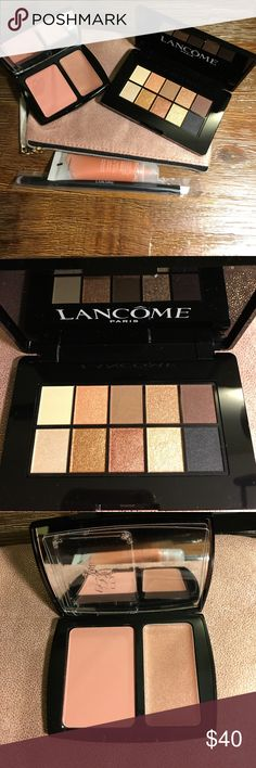 Lancôme beauty bundle comes with a cosmetic bag Lancôme beauty bundle comes with a Lancôme cosmetic bag.  The bundle includes eyeshadow palette, blush duo, juicy tubes and a duo brush with 1 angle brush at 1 end  and a flat brush at the other end. Lancome Makeup