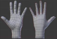 3d anime hand topology