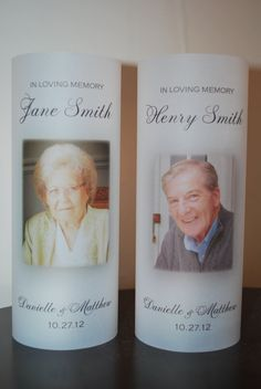 In Loving Memory Wedding Vellum Luminary Rememberance LED Candle Luminaries with Picture. $3.50, via Etsy.
