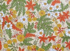 1960-70's Daisy Fern Woodland Fabric