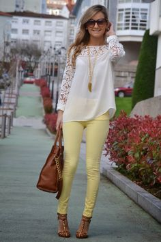 Yes to this whole outfit! | Gloss Fashionista White*yellow