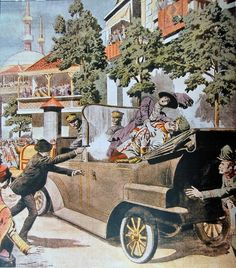 The assassination of Franz Ferdinand and his wife, Sophie Chotek, on their state visit to Sarajevo. The illustration was published in the French newspaper Le Petit Journal on July 12, 1914.