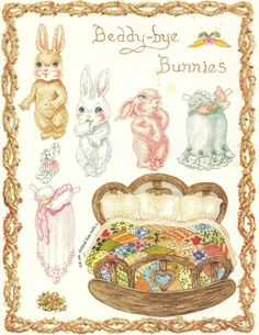 """Beddy-bye Bunnies by Judith A. Yates appeared in the magazine """"Teddy Bears and Friends"""", March/April 1987."""