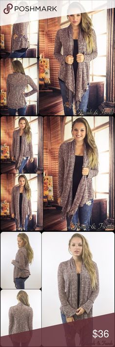 """NWT Open Front Draped Marled Knit Cardigan NWT Open Front Draped Marled Knit Cardigan  Available in S, M, L Measurements taken from a small  Length: 39"""" Bust: 38"""" Waist: 38""""  Rayon/Spandex/Poly blend  Features  • cascading/long draped sides • long sleeves  • open front • light marled knit • relaxed, easy fit  * Also available in different color (black) in separate listing, as seen in last photo  Bundle discounts available  No pp or trades  Item # 1/2PP011140360RGMK marled knit loose knit…"""