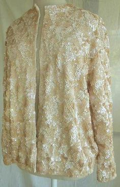 Sequin Cardigan Sweater Vintage 50s Masterpiece Pastel Luminious Concentric Sequin Cardigan, Sequin Jacket, Sweater Cardigan, Couture Outfits, Fashion Outfits, Black Rings, Sequins, Coat, Lace