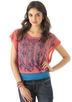 dELiAs > Pointelle Boxy Graphic Short Sleeve > tops > knit tops