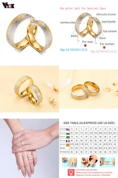 [Visit to Buy] Vnox couple engagement ring for women men sand blasted gold-color stainless steel CZ wedding rings jewelry #Advertisement