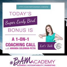#BAM Academy is NOW OPEN to Wait Listers ONLY! Sign up for the #BAM Academy Wait List today and get access to a 1-on-1 Call with Me, PLUS 8 Other Bonuses. The earlier you sign up, the more bonuses you get. After today, this 1-on-1 Call bonus is GONE! JOIN HERE >> http://coachwithamanda.com/bam?utm_content=buffer97c49&utm_medium=social&utm_source=pinterest.com&utm_campaign=buffer #BAM #coaching #femaleentrepreneur #womeninbusiness #bossbabes #ladyboss #businesswomen #businesswoman…