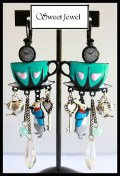 Boucles-d-oreilles-BIJOUX-LOL-Alice-Tassi-bleu-Tasse-coeur-fantaisie-Lolilota
