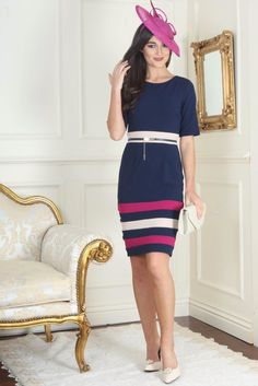 Sharon Navy and Pink Detail Dress