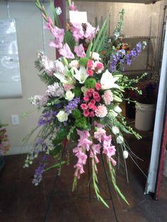 Easel spray Casket Flowers, Altar Flowers, Church Flowers, Funeral Flowers, Wedding Flowers, Flower Shop Decor, Flower Decorations, Funeral Floral Arrangements, Flower Arrangements