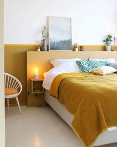 MY ATTIC voor KARWEI / diy headboard / bedroom / slaapkamer / ochre / oker Photo. MY ATTIC for KARWEI / diy headboard / bedroom / bedroom / ocher / ocher Photography: Marij Hessel Home Decor Bedroom, Modern Bedroom, Bedroom Wall, Bedroom Ideas, Bedroom Inspo, Minimal Bedroom, Master Bedroom, Edgy Bedroom, Bed Wall