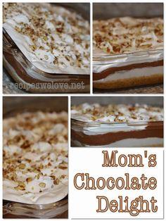 Mom s Chocolate Delight Recipes We Love Layered Desserts, Great Desserts, Delicious Desserts, Dessert Recipes, Yummy Food, Candy Recipes, Dessert Ideas, Scones, Mousse