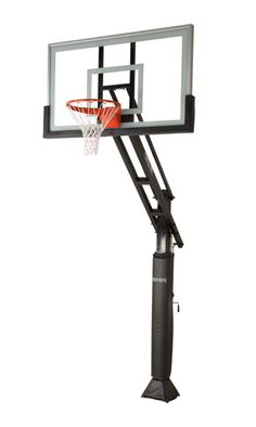 Side view of the complete basketball system