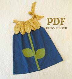 Sunny Flower Pillowcase Dress - Girl Sewing Pattern - PDF Pattern Tutorial Easy Sew Sizes 12m thru 10 included. $7.50, via Etsy.