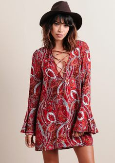 at threadsence Eternal Lace-Up Paisley Dress