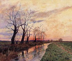 Afterglow/Winter Landscape with a Stream, 1900,  Michal Wywiorski (Poland 1861-1926)