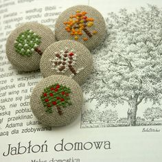 Turn into magnets Cross Stitching, Cross Stitch Embroidery, Embroidery Patterns, Hand Embroidery, Cross Stitch Patterns, Button Art, Button Crafts, Fabric Covered Button, Covered Buttons
