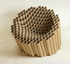 cardboard_tube_chair by Matthew Laws - photo via Art & Design fb page Cardboard Chair, Cardboard Design, Cardboard Tubes, Cardboard Crafts, Cardboard Furniture, Cool Furniture, Furniture Design, Karton Design, Chair Design