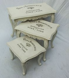 images of shabby chic furniture | Vintage Shabby Chic French Style Nest of Tables