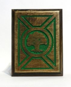 Green Mana Carved Magic Deck Box Card Case for by FoxAndDragon, $64.95