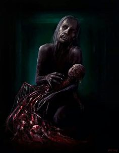 Maternity by PieroMng on DeviantArt Creepy Horror, Horror Art, Zombie Vampire, Darkness Falls, Creepy Halloween, True Art, Dark Places, Manga, Fantasy Creatures