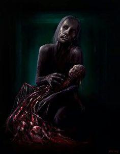 Maternity by PieroMng on DeviantArt Creepy Horror, Horror Art, Zombie Vampire, Darkness Falls, Creepy Halloween, Dark Places, True Art, Manga, Fantasy Creatures