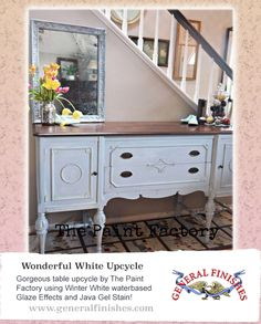 The Paint Factory, https://www.facebook.com/ThePaintFactory used General Finishes Water based Winter White Glaze Effects and our Java Gel Stain on this console table.  So beautiful! We'd love to see your projects made with General Finishes products! Tag us with #GeneralFinishes or share with us through our facebook page. #generalfinishes