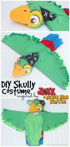 DIY Skully Parrot Costume from Disney's Jake and the Never Land Pirates - so cute and almost entirely no-sew!!! #Halloween #costumes