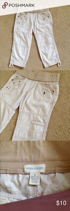 Maurices Capris - Elastic Waistband Light beige Maurices summer capri pants with elastic waistband. 100% cotton. Size S. Gently worn, in good condition. Maurices Pants Capris