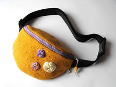 fanny pack  brownyellow and light purple big size by toritextil, $30.00