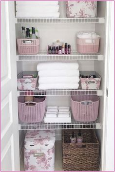 Home Interior Living Room How cute is this pink floral themed linen closet? I love that toilet paper storage bin!Home Interior Living Room How cute is this pink floral themed linen closet? I love that toilet paper storage bin! Linen Closet Organization, Bathroom Organisation, Diy Organization, Storage Closets, Organizing Ideas, Organization Ideas For The Home, Organising, Organisation Ideas, Medicine Cabinet Organization