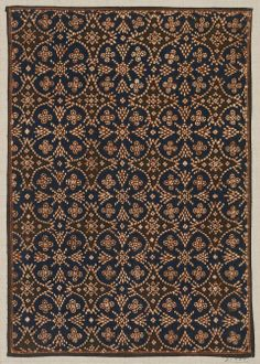Sample of cotton batik with design of blue ground evenly powdered with curvilinear medallions and small rosettes printed with dark brown, neutral orange and light neut … Ethnic Patterns, Textile Patterns, Textile Design, Fabric Design, Print Patterns, Batik Art, Batik Prints, William Morris, Art Chinois