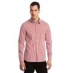 Long-Sleeve Red Elbow Patch Shir - Shirts - Kenneth Cole