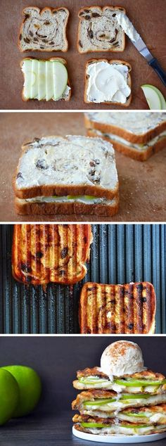 Apple Pie Panini -- Cinnamon Raisin Toast, with Cream Cheese and Apples #healthy #dessert #applepie