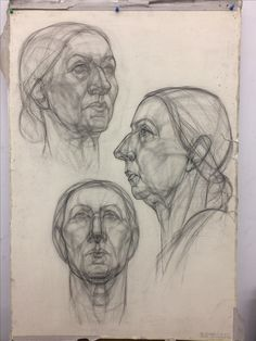 43 Portraits Of Elderly People Ideas - Art Drawing Heads, Life Drawing, Figure Drawing, Painting & Drawing, Neck Drawing, Portrait Sketches, Portrait Art, Art Sketches, Art Drawings