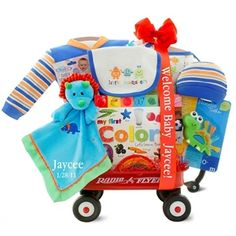 http://www.gotobaby.com/ – Get the fun rolling with the adorable and colorful Kara Nessian Monster Radio Flyer baby gift wagon at Go To Baby.