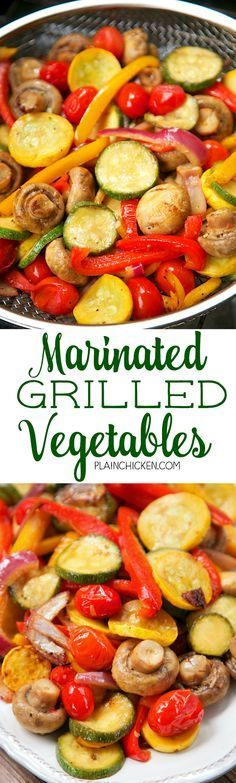 Marinated Grilled Vegetables - zucchini squash mushrooms tomatoes red bell pepper yellow bell pepper and red onion marinated in olive oil soy sauce lemon juice and garlic. Marinate veggies for 30 minutes and grill. Ready in about 15 minutes! SO eas Side Dish Recipes, Veggie Recipes, Vegetarian Recipes, Healthy Recipes, Diet Recipes, Recipes Dinner, Juice Recipes, Paleo Dinner, Veggie Food