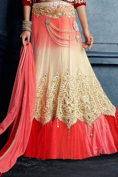 Buy Designer Bridal Seasons Coral Net Lehenga Choli   UK Online Designer Outlet
