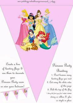 Hundresds of princess themed paper crafts and activity pages... free printable bunting banners, party crafts and activities for girls and more... love...
