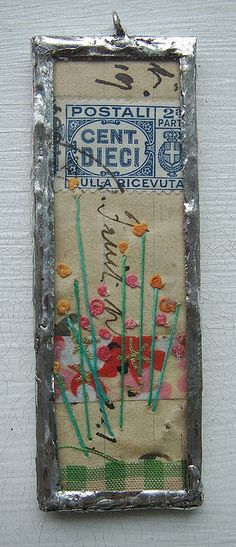 Embroidered & Soldered Collaged Pendant glass, bezels, frames, chains www.eCrafty.com