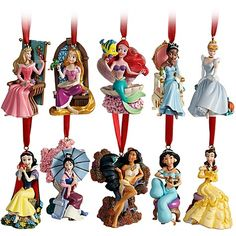 Disney Christmas Tree Little Mermaid Rapunzel Jasmine Mulan Princess Ornaments | eBay