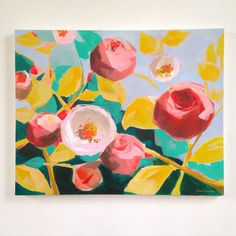 """Floral """"Diana"""" Original Acrylic Painting on stretched canvas by Jess Franks by GreenAcreArts on Etsy"""
